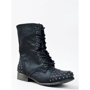 Madden Girl Studded Lace Up Combat Boots